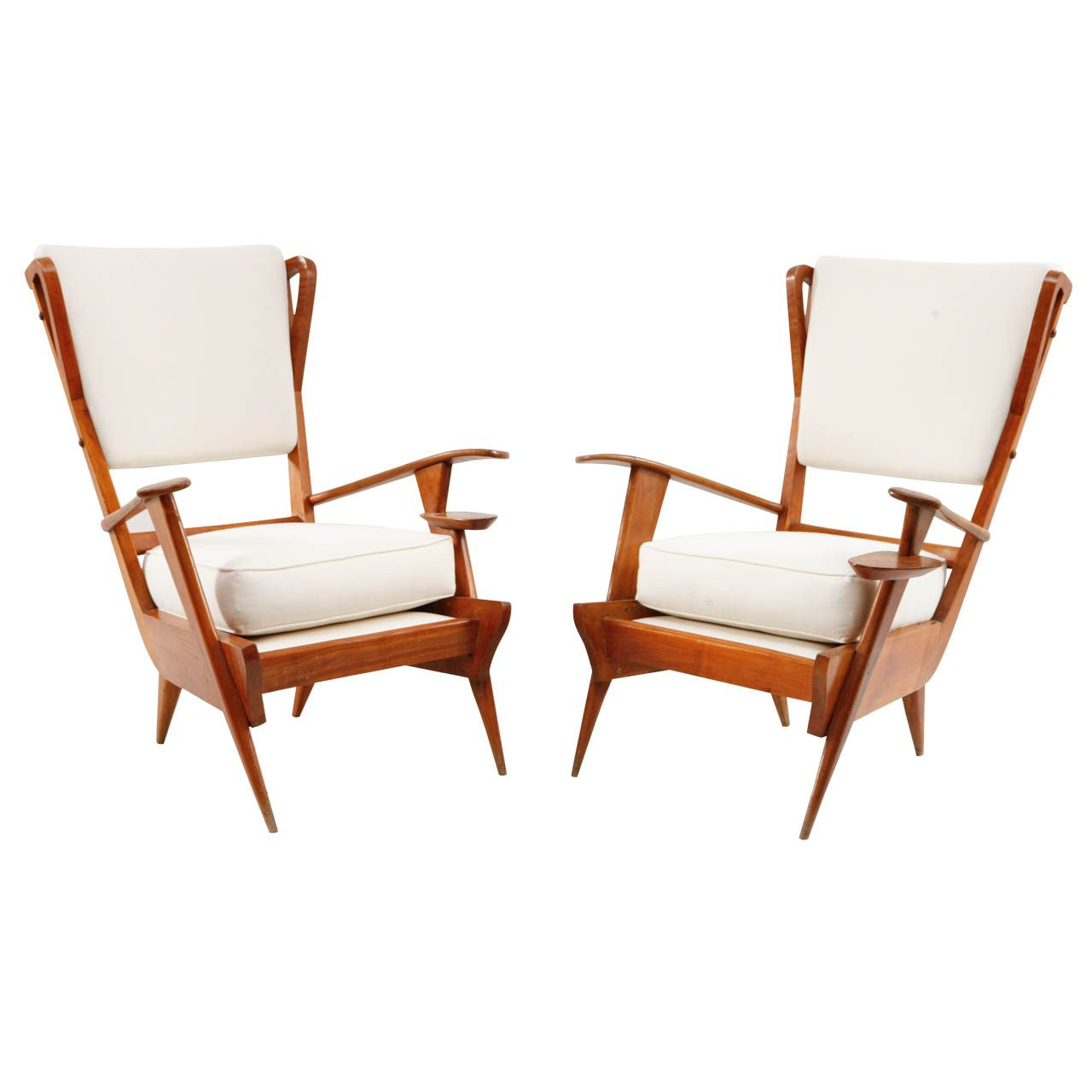 Pair of Italian Teak Viewing Chairs with Cup Holder | From a unique collection of antique and modern lounge chairs at http://www.1stdibs.com/furniture/seating/lounge-chairs/