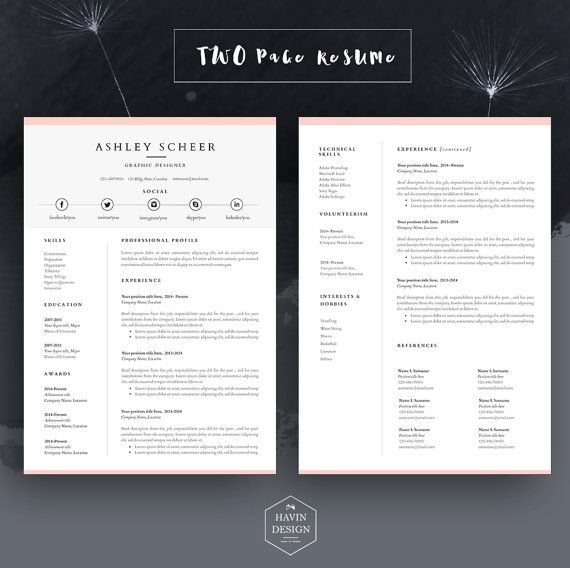 Professional resume template, resume template for word, cv ...