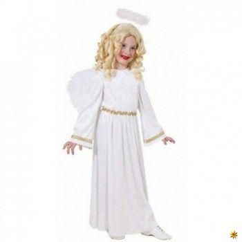 Engelkostüm Samtkleid weiß Engelkleid mit Flügel und Heiligenschein Engel Kostüm
