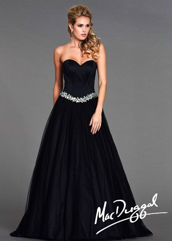 Mac Duggal 64636L - Black Beaded Strapless Ball Gown Prom Dresses Online