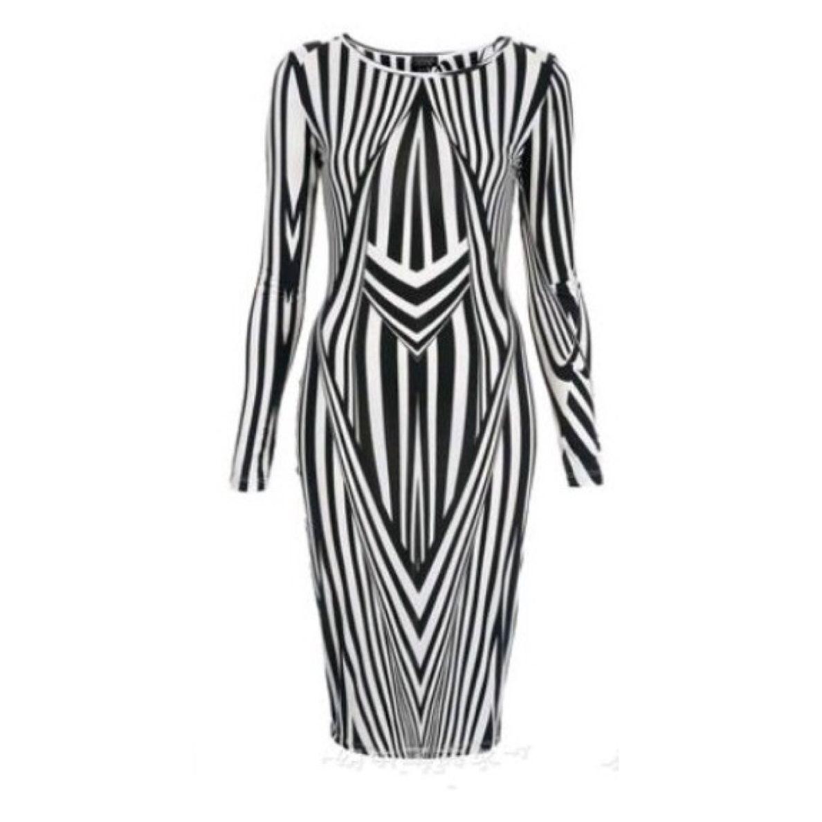 Black and White Kaleidoscope Bodycon Dress