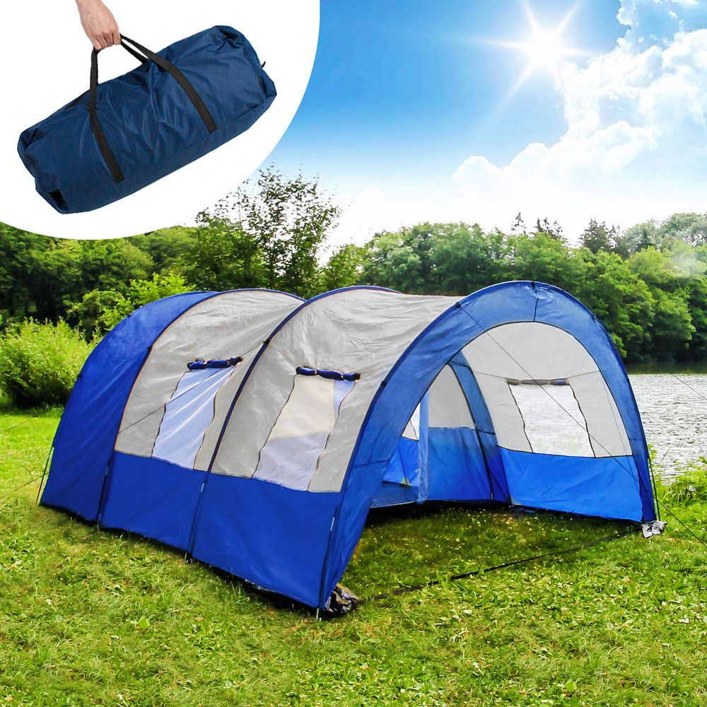 Xxl c&ing tunnel family tent outdoor group tents 4-6 persons man with pegs new & Xxl camping tunnel family tent outdoor group tents 4-6 persons man ...