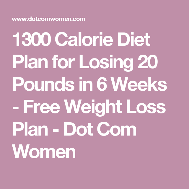 1300 Calorie Diet Plan for Losing 20 Pounds in 6 Weeks - Free Weight Loss  Plan