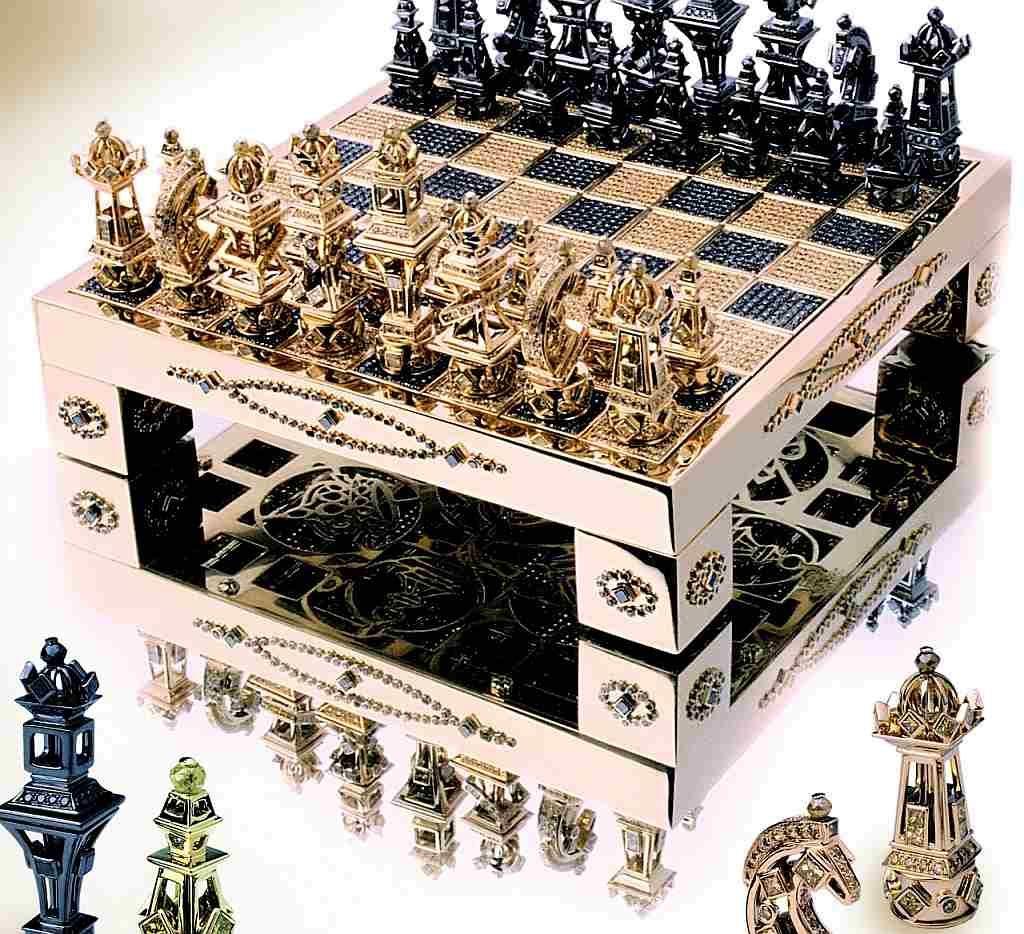 Que Tal Uma Extravagancia Com Este Jogo De Xadrez Em Ouro 18k Xadrez Jogo Tabuleiro De Xadrez Jogo De Xadrez
