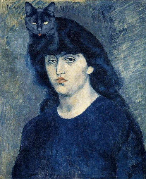 pablo picasso woman with black cat katzen kunstw nde und malerei. Black Bedroom Furniture Sets. Home Design Ideas
