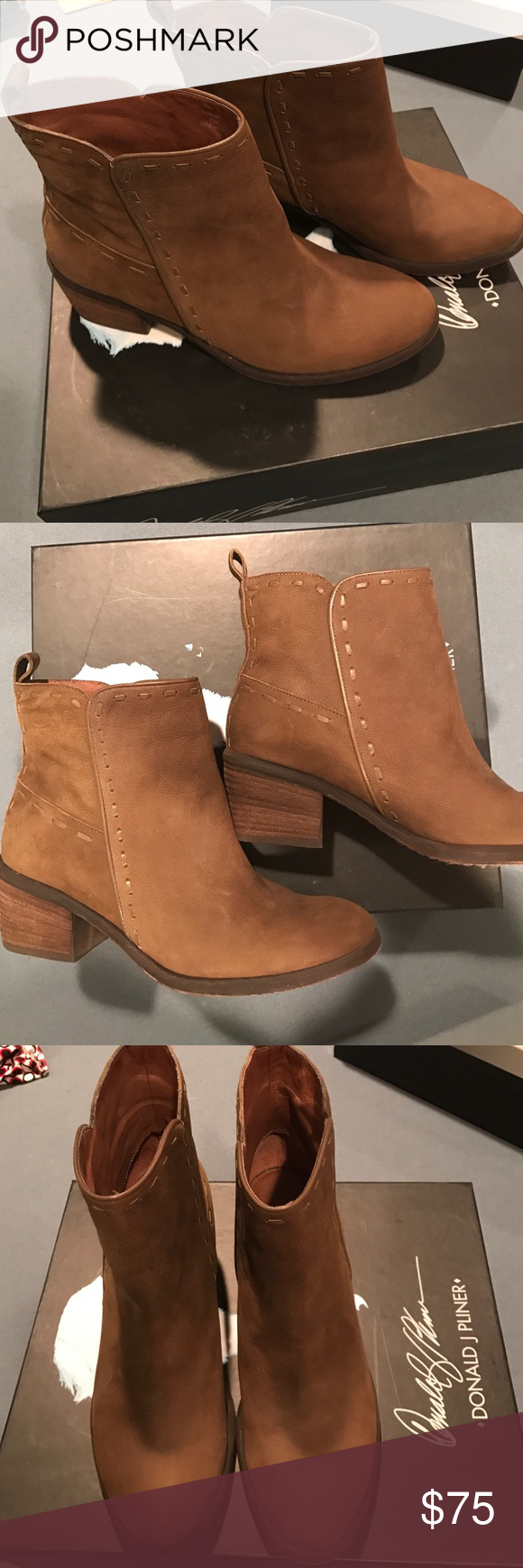 Suede boots with stitched accents. stacked heel Suede boots are a bit deeper in color than these photos. So cute with a skirt or jeans! Comes with original box Donald J. Pliner Shoes Ankle Boots & Booties