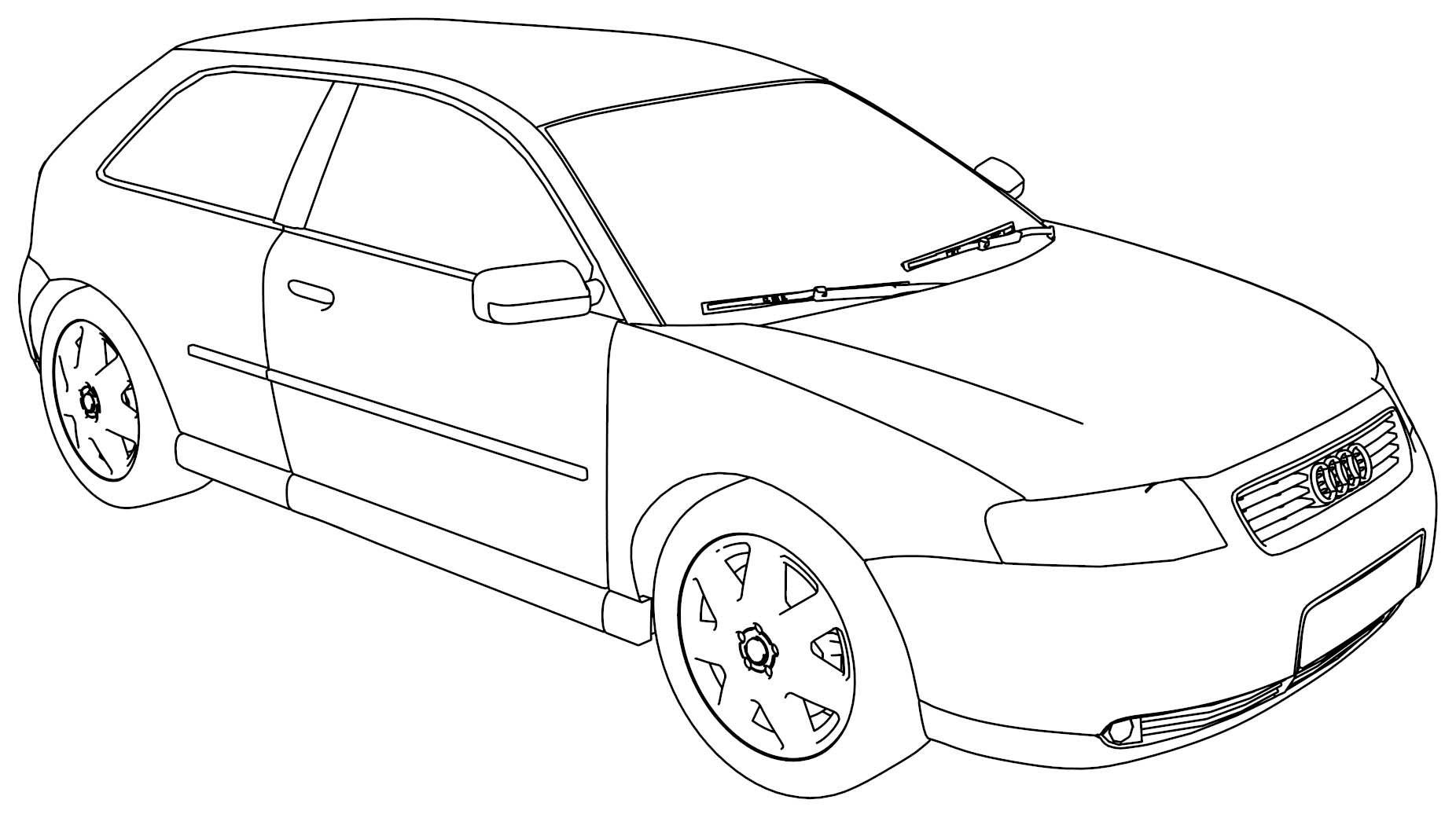 Audi A6 Avant Sketch Coloring Page