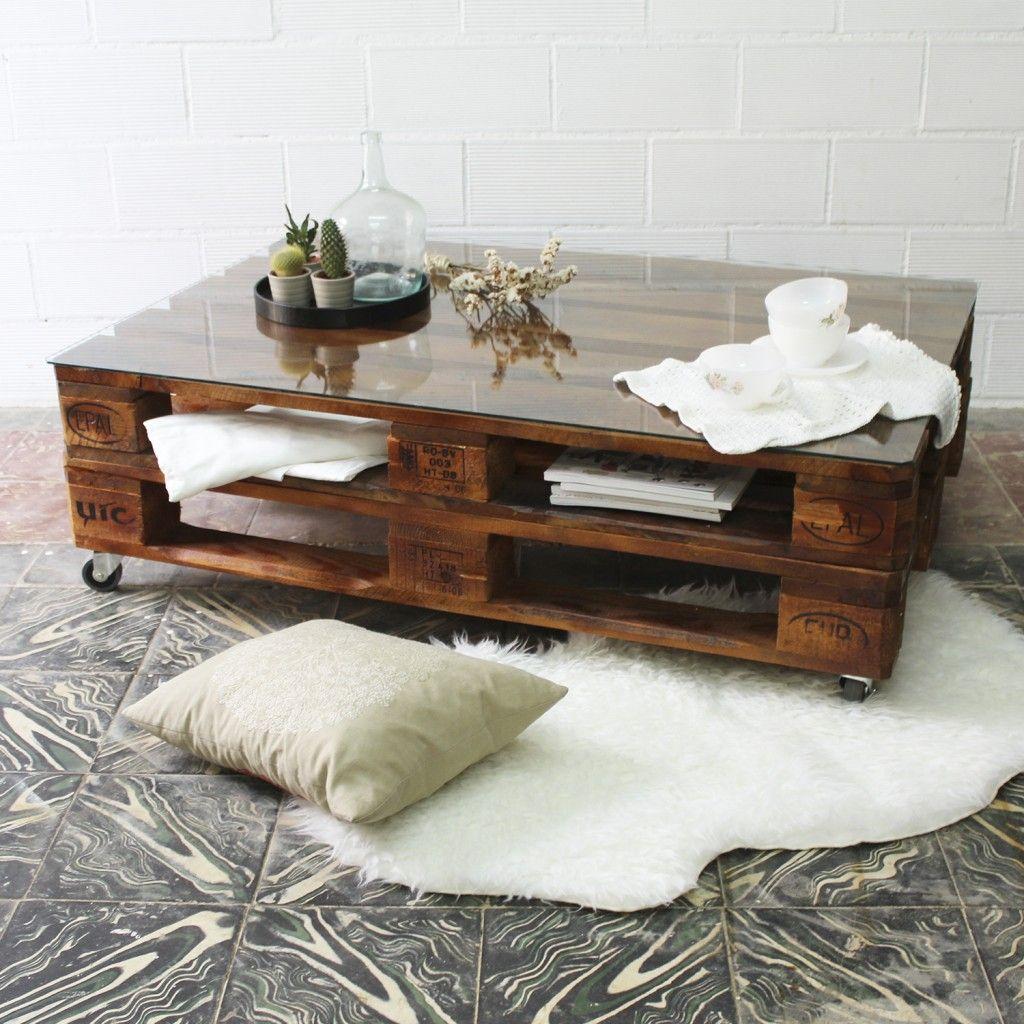 mesa de palets con ruedas y vidrio mesa hecha con palets mesa palets jardn - Mesa Con Palets