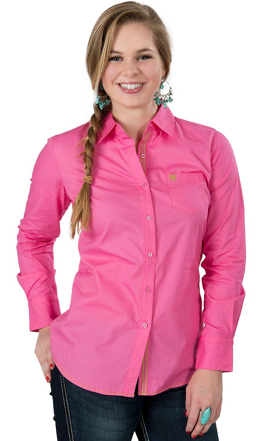Ariat® Women\'s Kirby Pink Long Sleeve Western Shirt | Women\'s Shirts ...