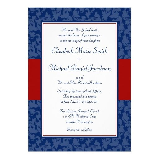 Red And Pink Wedding Invitations: Navy Blue And Red Damask Swirl Wedding Invitations