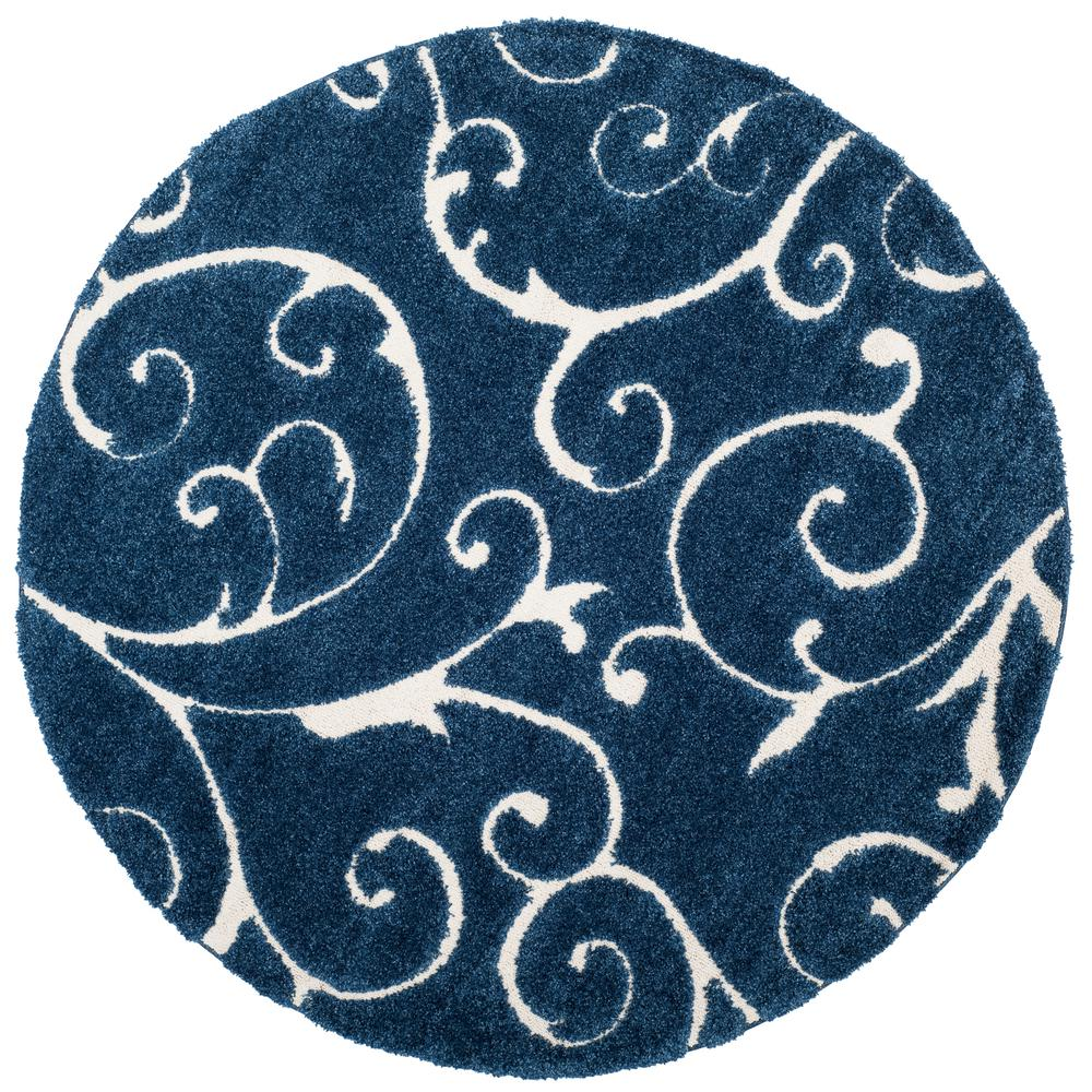 Safavieh Florida Shag Dark Blue Cream 7 Ft X 7 Ft Round Area Rug Sg455 6511 7r Round Area Rugs Area Rugs Blue Cream