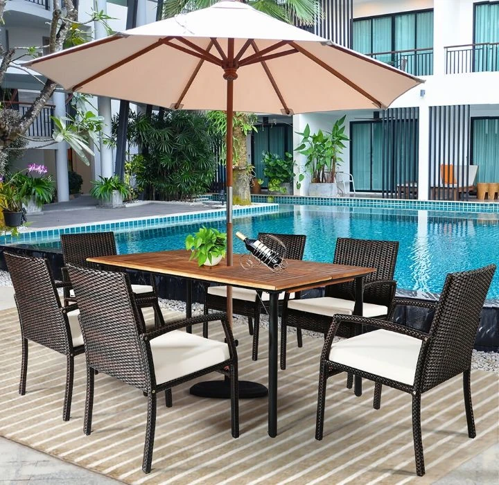 Daily Deal Outdoor Furniture Sets Rattan 7-piece Dining Set – UntilGone.com