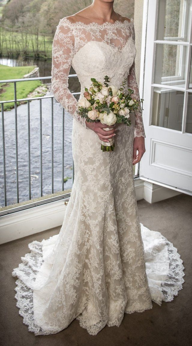 Preloved Suzanne Neville Hepburn Wedding Dress Lace Jacket For Sale In Wilmslow Ches Wedding Dresses Lace Wedding Dress Long Sleeve Muslim Wedding Dresses