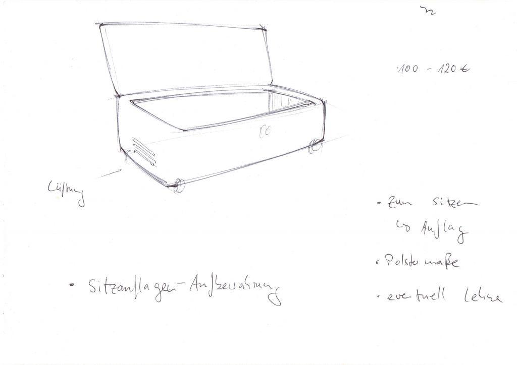 Eine dekorative Box, die Platz für alle Sitzauflagen der z.B.