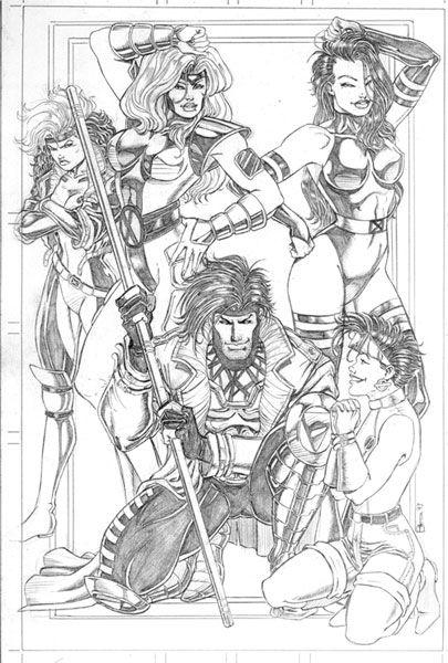 Rogue Jean Grey Psylocke Jubilee And Gambit From X Men Comic Art Superhero Coloring Pages Superhero Coloring