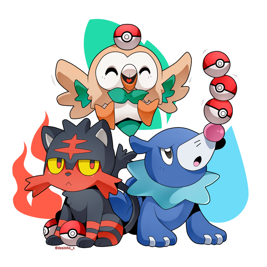 Pokemon coloring pages popplio - Pokemon Coloring Pages Rowlet Rowlet Popplio And Litten The Pokemon Sun