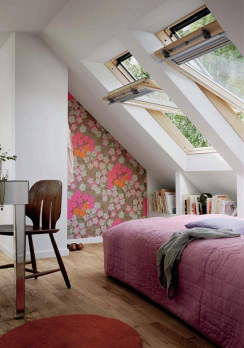 Large swing open attic skylight windows in attic space for Bedroom skylight