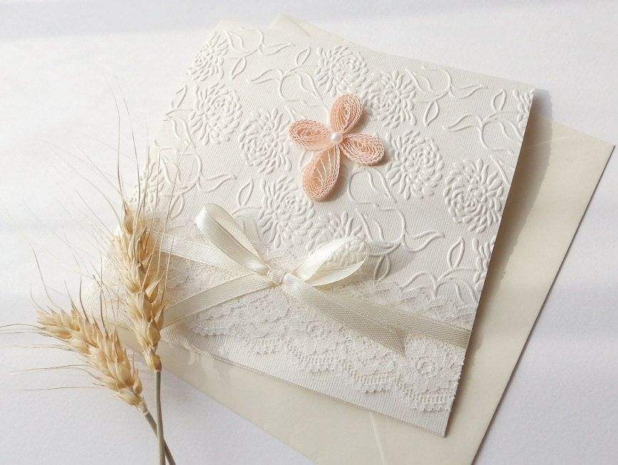 Handmade christening invitationCross quilling invitationWhite lace