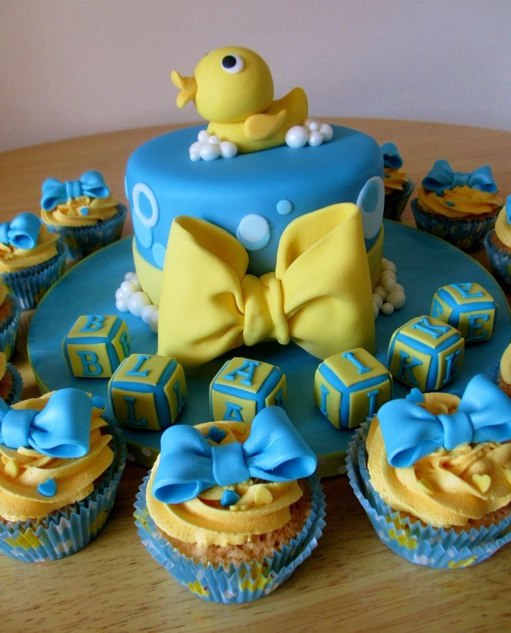 Ducky Themed Baby Shower Part - 41: Duck Baby Shower Ideas Cake In Blue