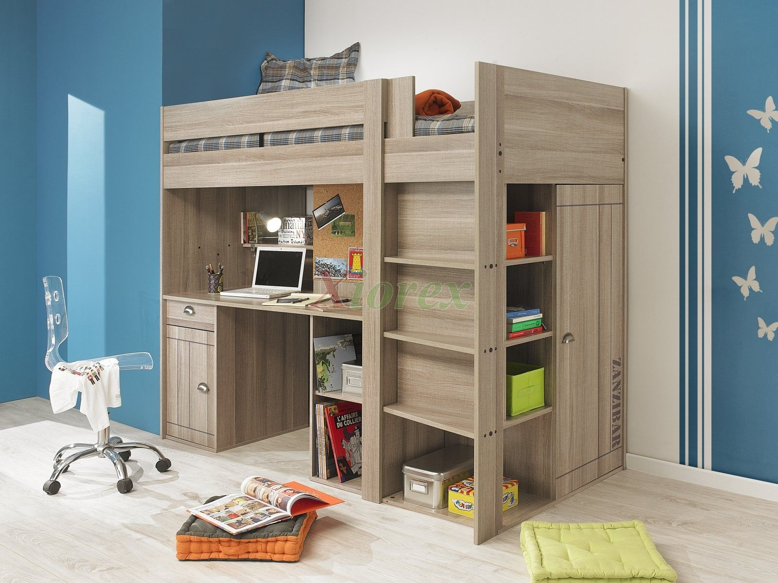 Bunk bed with desk for teenagers - Gami Largo Loft Beds For Teens Canada With Desk Closet