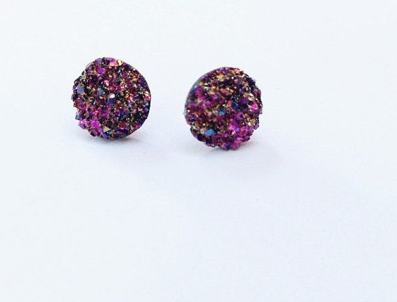 Meteorite Druzy stud earrings // Pink-gold-multi color astro dust // faux druzy cabachon // space rock // birthday party favors