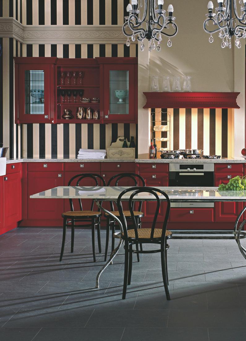 Rote Landhausküche in L-Form mit dunklem Fliesenboden | Pinterest ...