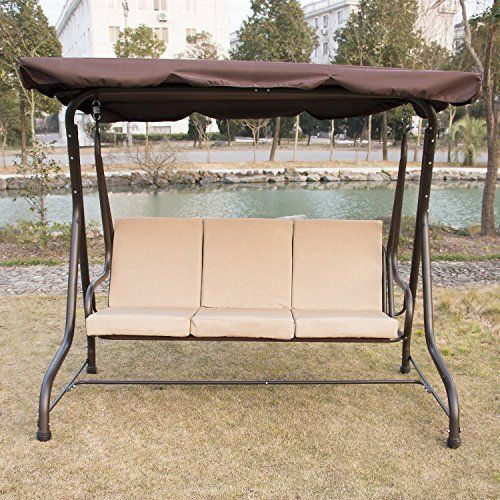 Walcut Outdoor 3 Person Canopy Swing Chair Patio Backyard Love Seat Beach  Porch Furniture