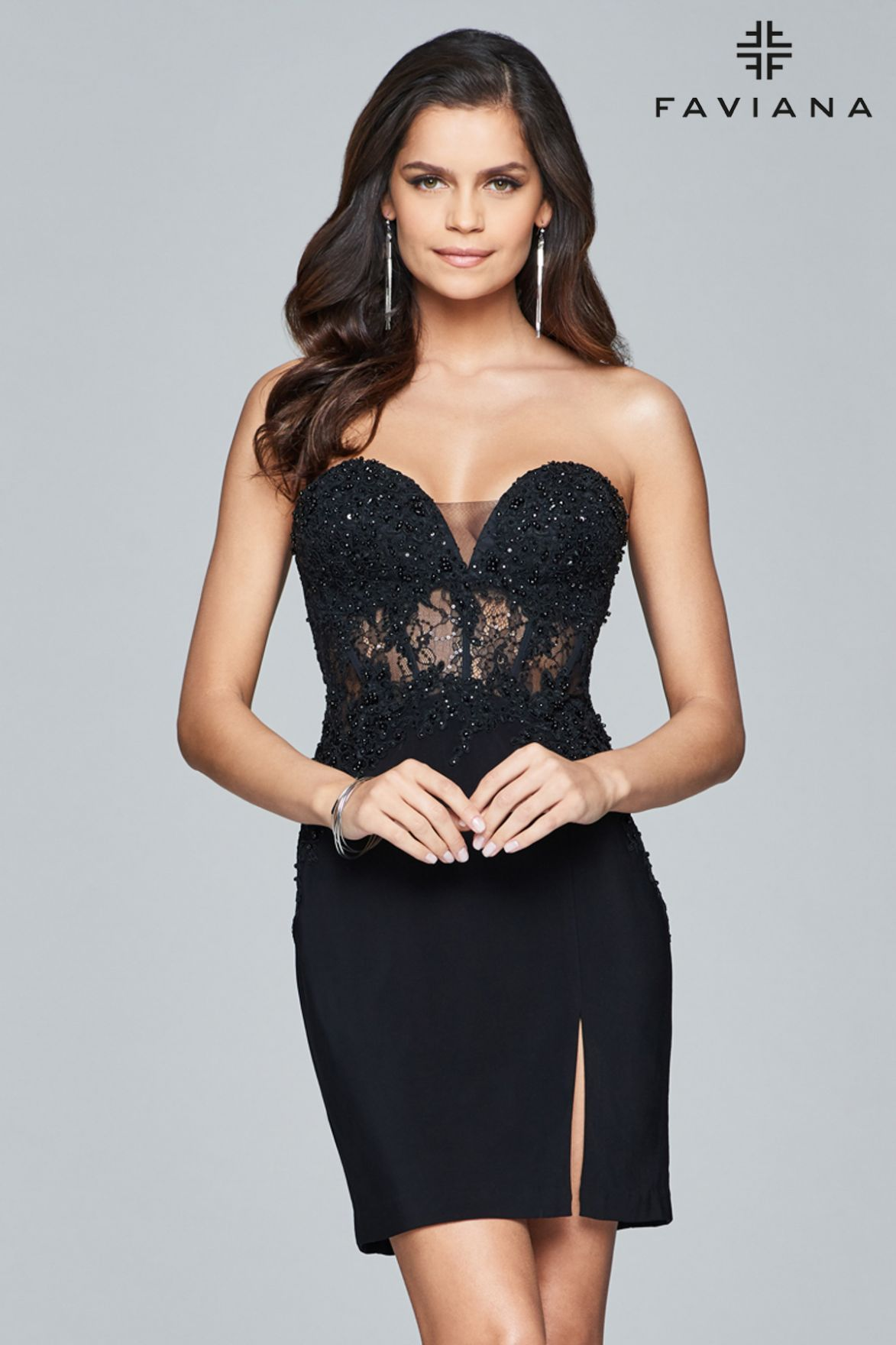 Shop Short Lace And Jersey Strapless Cocktail Dress Faviana Style S8074 Faviana Club Party Prom Dres Glamour Dress Cocktail Dress Beaded Cocktail Dress [ 1760 x 1173 Pixel ]