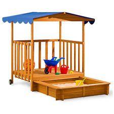 Kids Wooden Sandpit Sandbox Sandbox Roof Outdoor Games Child Garden  Furniture