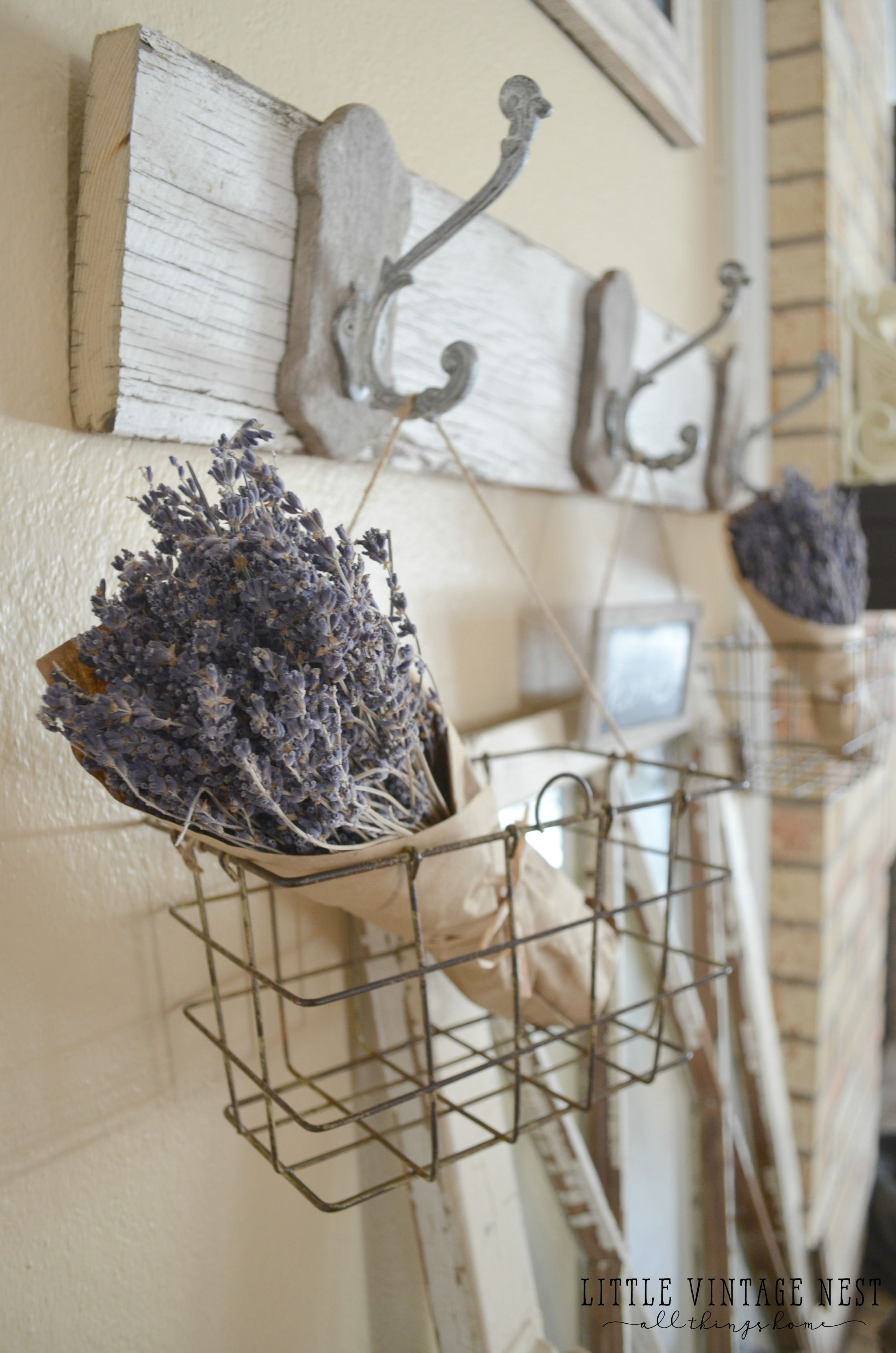 Farmhouse style decorating with wire baskets wire