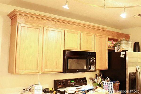 Diy Fake Crown Molding Using Chair Rail Molding Kitchen Cabinets Trim Kitchen Cabinet Crown Molding Painting Kitchen Cabinets