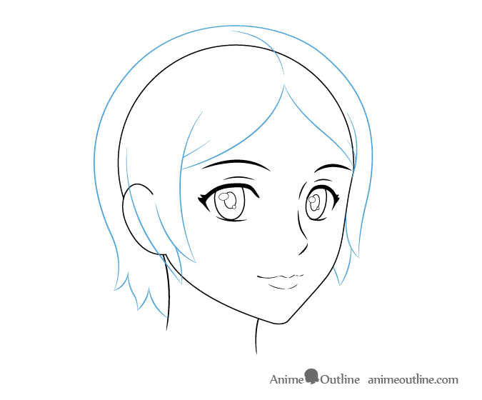 Anime Female Hair 3 4 View Drawing Female Anime Hairstyles Anime Drawings Tutorials Drawings