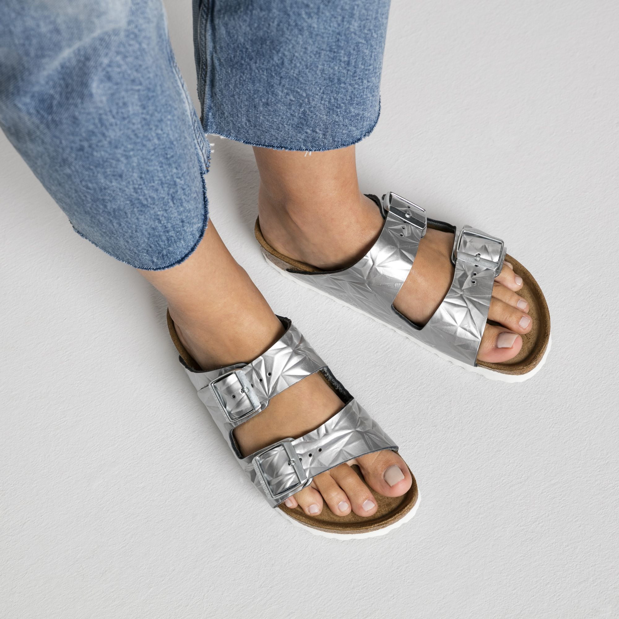 743995a1e0d Birkenstock- Arizona Natural Leather Soft Footbed Spectral Silver  135.00  Epcot dup