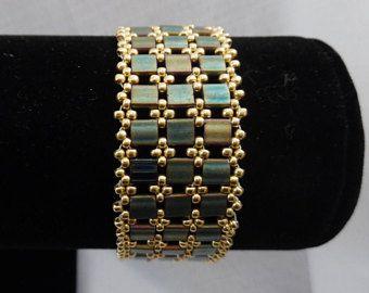 Green and Gold Tila Bead Bracelet