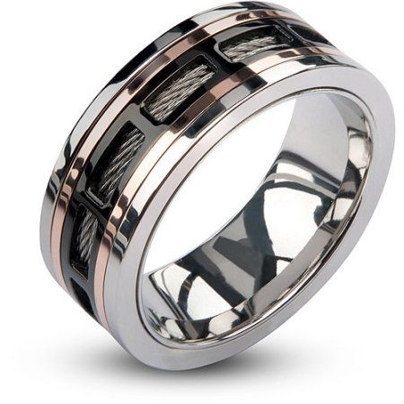 Fine Jewelry Mens Stainless Steel Wedding Band with Cable Inlay and Gold IP Plated Screw Accent