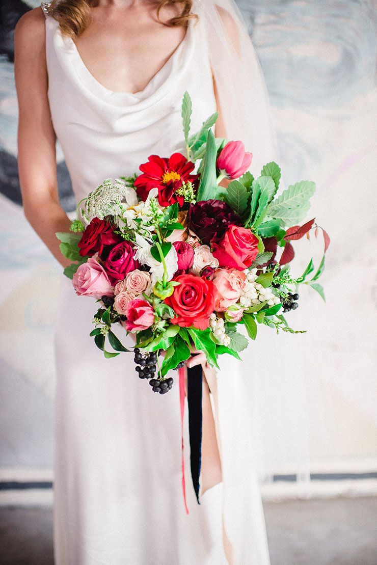 Stunning Red And Pink Wedding Bouquet With Roses Tulips Fiona Vail Photography See