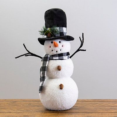 This Buffalo Check Scarf Plush Snowman Sitter won't melt away when winter fades. In fact, he'll look jolly sitting in your home long after Christmas is over.         Sitter measures 21.5H x 8 in. in diameter         Crafted of polyester         Plush standing snowman design         Wears a top hat and scarf with buffalo check prints         Hues of black, white, green, brown, and orange         Stands on its own         Care: Dust with a soft, dry cloth.        Contact your local Kirkland's stor