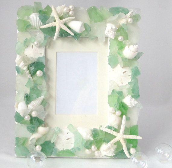 Sea Glass Frame, Nautical Decor Beach Glass Frame, Coastal Seaglass ...