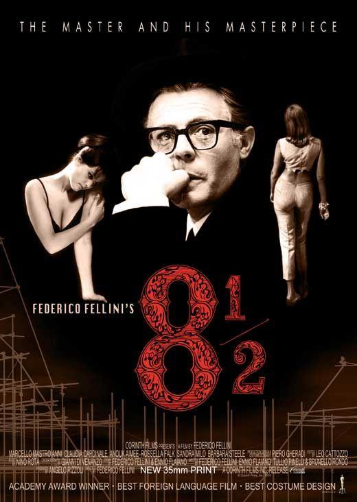 Federico Fellini, Federico Fellini, 1963. Marcello Mastroianni, Anouk Aimée, Claudia Cardinale.