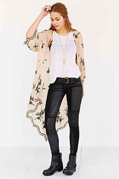 Pins And Needles Night Bloom Embroidered Kimono Jacket