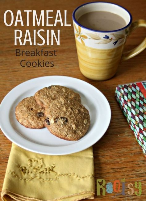 Oatmeal Raisin Breakfast Cookies #fiberfruits