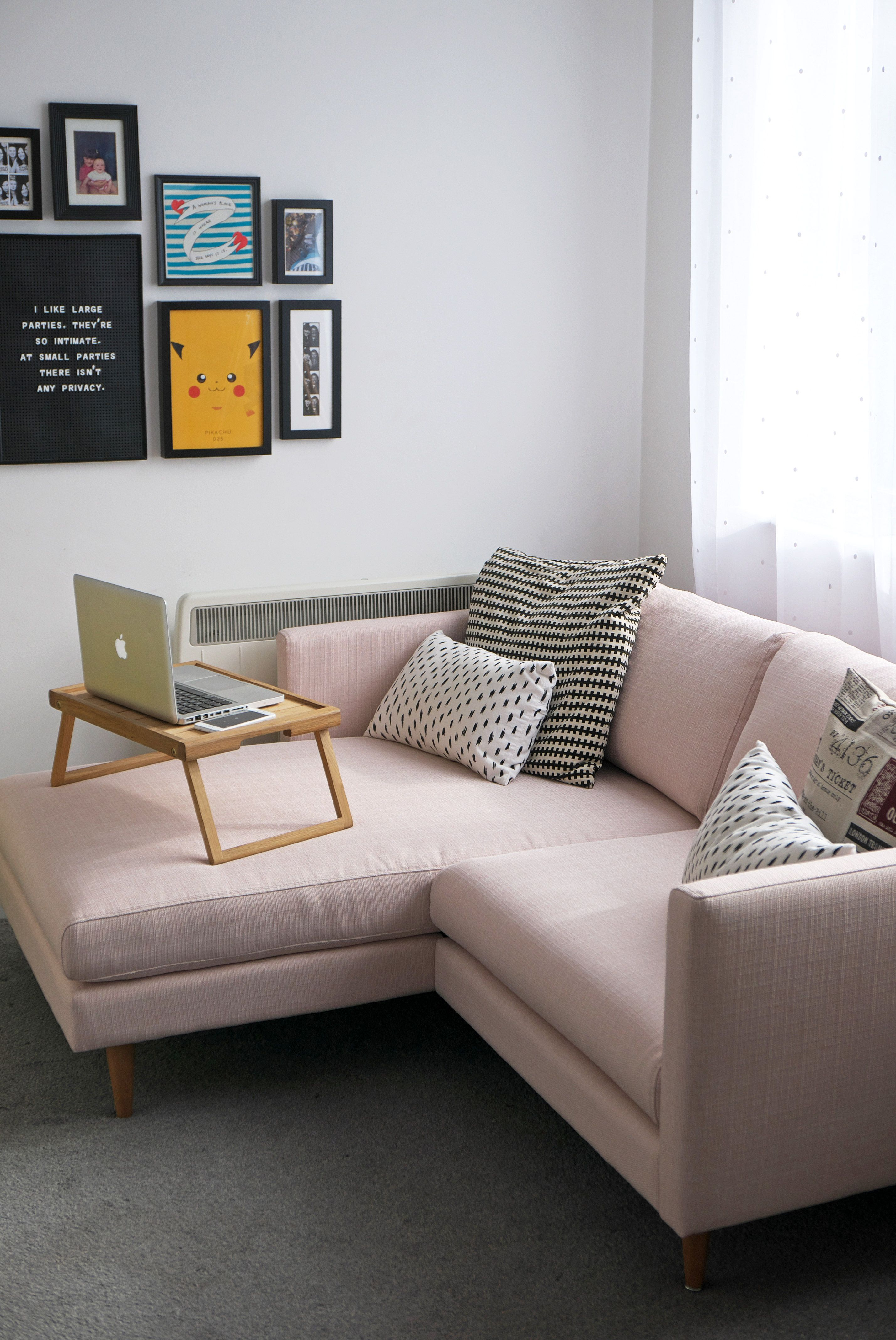 London Studio Flat Tour Featuring A Pink Sofa Adventuring And Things Pink Sofa Corner Sofa Interior Design Sofa