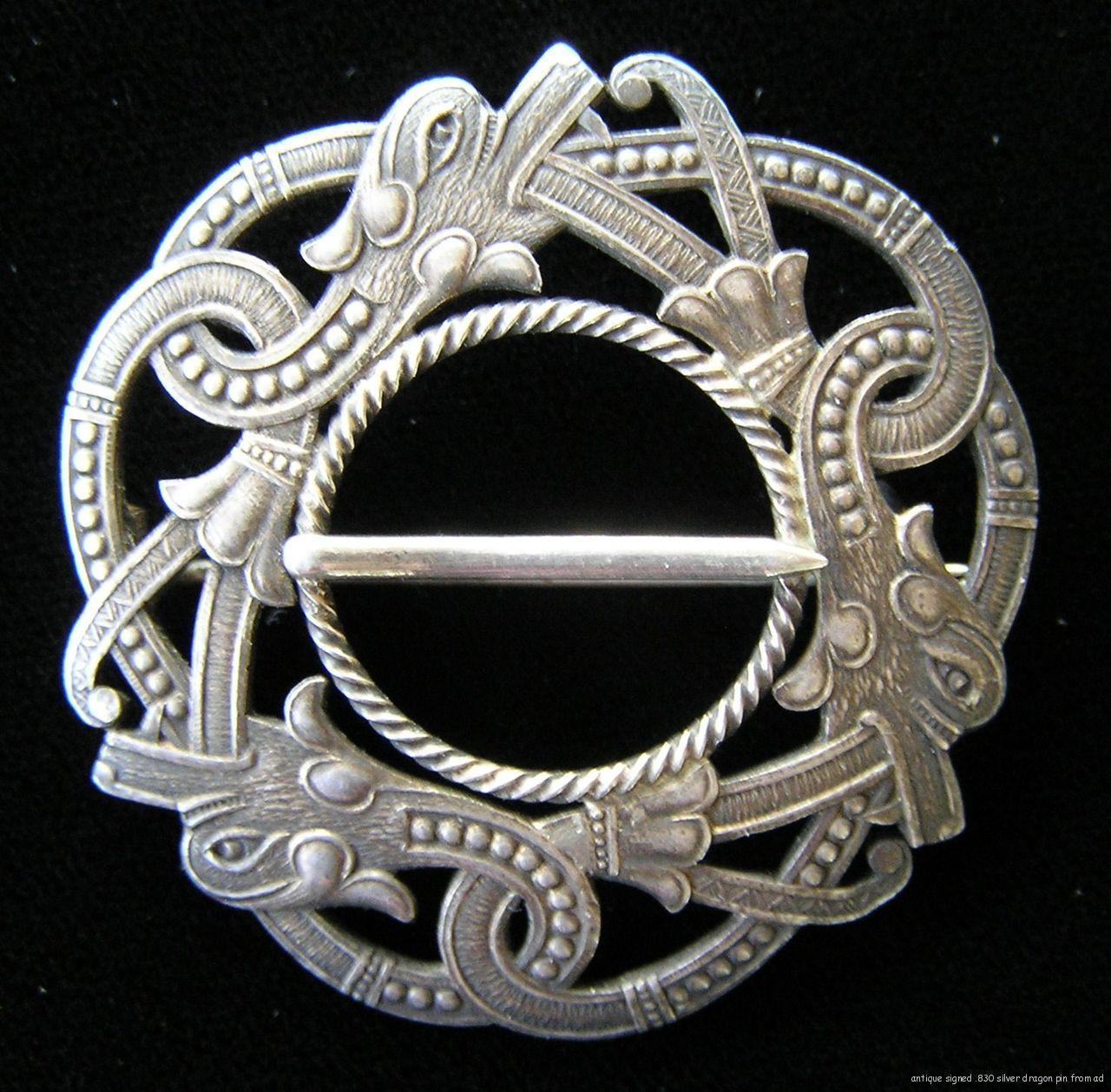 Antique Norwegian Norway Signed C Berg 830 Silver Solje Drage Dragon Pin Brooch Scandinavian Jewelry Viking Jewelry Norwegian Jewelry