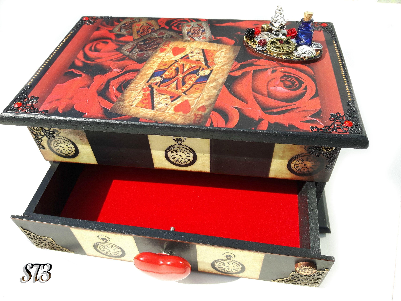 alice decor wooden keepsake box decorated box decoupaged box Alice in wonderland jewellery box