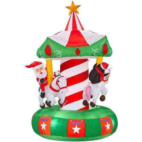 gemmy inflatable animatronic airblown carousel outdoor christmas decoration with incandescent white lights gemmyhttpwwwamazoncomdpb00g85mie2ref