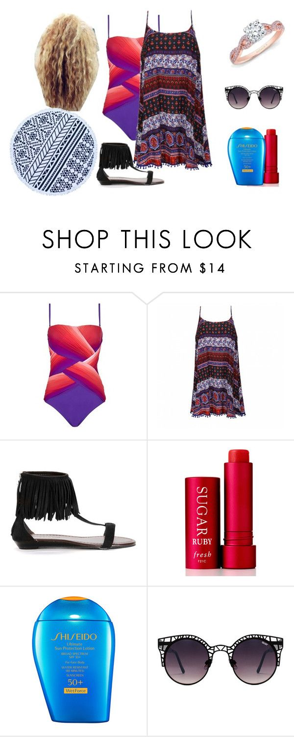"""""""Elizabeth Amber Going To The Beach With Danny Sexbang"""" by shestheman01 on Polyvore featuring Gottex, Ally Fashion, Fresh, Shiseido and Quay"""
