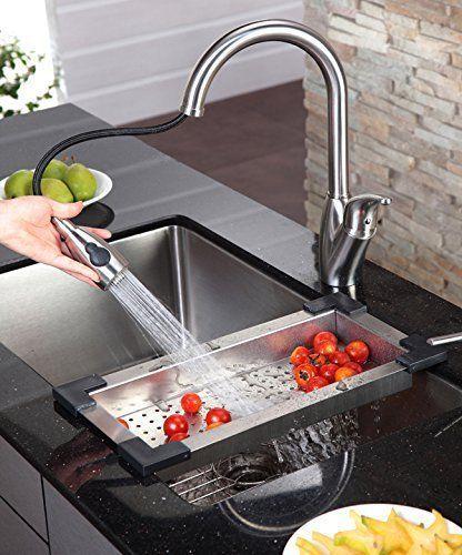 Kraus Colander Vessel Sinks Kitchen Stainless Steel Cooking Fruit Vegetable Wash Kitchen Sink Accessories Best Kitchen Faucets Kitchen Room Design