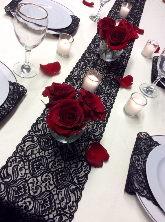 Black Lace Table Runner, 12ft-20ft x 6.5in Wide, Black Wedding ...