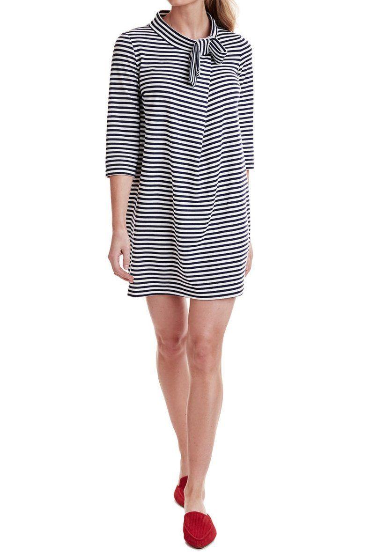 Bow Neck Stripe Knit Dress Striped Knit Dress Dresses Preppy Inspiration [ 1179 x 805 Pixel ]