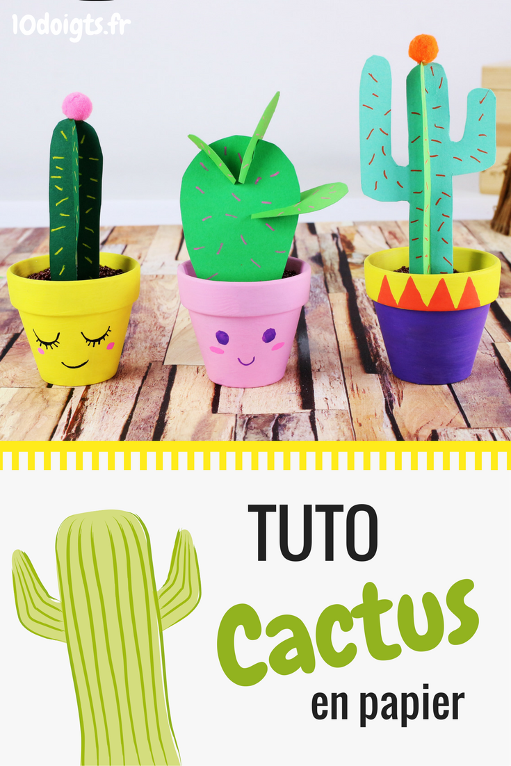 cactus en papier activit s enfantines bricolages pour enfants pinterest feuilles en. Black Bedroom Furniture Sets. Home Design Ideas